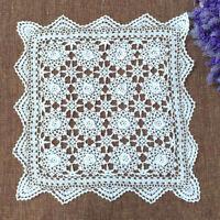 White Vintage Hand Crochet Lace Doily Square Cotton Table Cloth Mats 50cm
