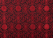 "28""  TIBETAN DAMASK JACQUARD BROCADE FABRIC : FLORAL DORJE LOTUS, RED & BLACK ="