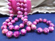 Vintage Costume Single Long Strand Necklace Bangle Bracelet Lot Raspberry Lucite