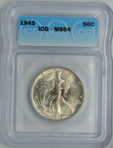 1943 Walking Liberty Half Dollar 50C | ICG MS64  ☆Brilliant☆