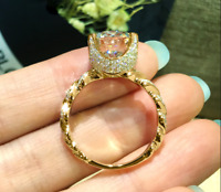 2Ct Round Cut Moissanite Solitaire Engagement Ring Solid 14K Yellow Gold Finish
