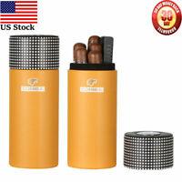 Travel Cigar Tubes Humidor Cigars Case Cedar Wood Humidifier Box Gift 4-6 Cigar
