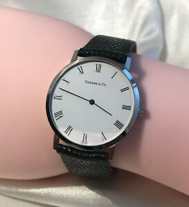 TIFFANY & CO. WATCH WHITE FACE STAINLESS STEEL BLACK LIZARD STRAP - SIZE 38.5 MM