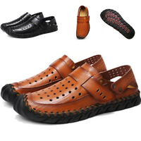 New Summer Mens Hollow Out Leather Beach Sandals Casual Outdoor Slipper Shoes