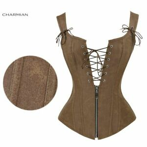 Female Lace Up And Zipper Overbust Corsets Top Solid Leather Steampunk Style New