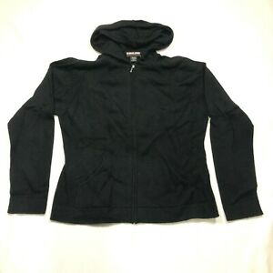 Kirkland Signature Cashmere Hoodie Womens L Black Full Zip Long Sleeve Fitted
