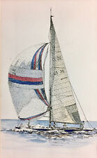 Sailboat Watercolor Painting Nautical Signed Sassy Ellis matted unframed 03579