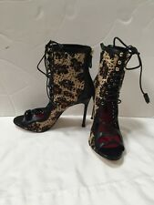 2068358d23619 CAROLINA HERRERA LEATHER ANIMAL PRINT OPEN TOE BOOTIES SHOES SZ 37
