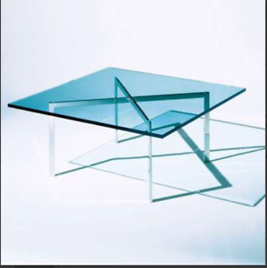 "Barcelona Table, 17"" Tall by Knoll Sapphire Glass"