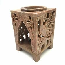 Soapstone Oil Burner Oil Diffuser Tea-Light Candle Holder – Elephant Hand-carved