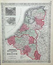 HOLLAND & BELGIUM Johnson Original Antique Vintage Hand Coloured Map c1865