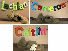 Personalized Name Banner, 7 Fabric Letters, Wall Bunting