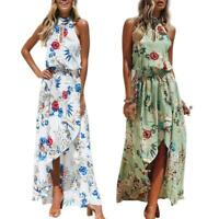 Summer Women Bohemia Dress Sleeveless Floral Print Hang Neck Casual Clothes