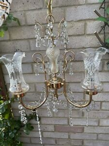 Spanish Brass Crystal Etched Cut Glass Chandelier Ceiling Light Fitting