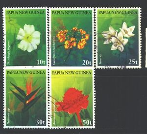 PAPUA NEW GUINEA 928-32 SG796-800 Used 1997 Flowers set of 5 Cat$5