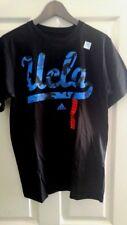 New Adidas UCLA Mens Black Camo Script Logo in Blue T-shirt size Medium M Cotton