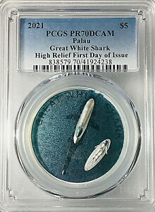 2021 PALAU $5 GREAT WHITE SHARK UHR SILVER PROOF PCGS PR70 FIRST DAY OF ISSUE