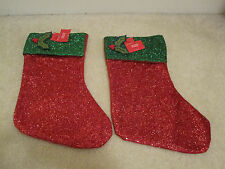 Christmas stocking red green holly 18 inches set of  2 new with tags holiday