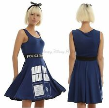 New Dr Doctor Who TARDIS Print Cosplay Tank Style Skater Dress Juniors S