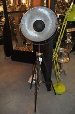 Tripod Floor Lamp Vintage Spotlight Silver Inner Shade 160cm H Large Black