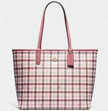 NWT Coach F76631 Reversible City Tote Gingham Print Brown Pink White Rouge $350