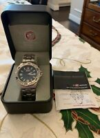 WENGER 7294X SWISS MILITARY WATCH WORKING~BLACK DIAL~IOB~WORKING.