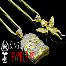 Sterling Silver Jesus Angel Chain Combo Classy Lab Diamond Yellow Gold Finish