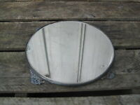 "Antique Quadruple Silver Plated 12"" Dresser Tray Mirror B0648"