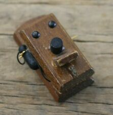 Dollhouse Miniature Wooden Antique Style Wall Phone Telephone