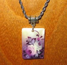 Russian hand painted small SHELL PENDANT Zhostovo LILAC PURPLE FLOWERS on chain