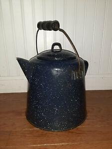 Vintage blue Enamel Campfire Coffee Pot w/ Wood Handle:Cowboy Cabin Speckled
