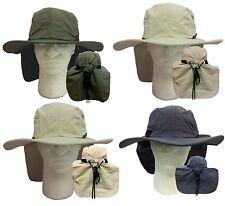 WHOLESALE LOT 12 Camping Hiking Fishing  Wide Brim Neck Flap Safari Bucket Hat