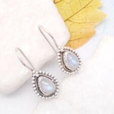Mondstein weiß blau Tropfen Design Ohrringe Haken Ohrhänger 925 Sterling Silber
