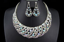 Bridal Wedding Party Jewelry Set Crystal Clear AB Rhinestone Necklace Earrings