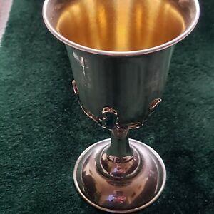 """Vintage Art Deco Enameled Sterling Silver Water Goblet 5.2 """""""