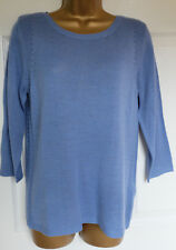 M&S Per Una Azure Blue Knitted Top with Linien