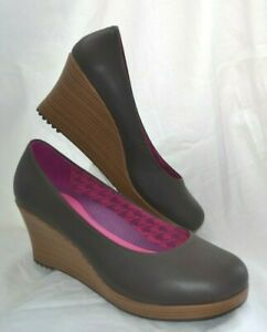 WOMEN'S GENUINE RARE CROCS A-LEIGH CLOSED TOE WEDGE LEATHER SHOES SIZE UK 8