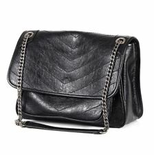 New Women Genuine Leather Shoulder Bag Handbag Purse Chain Strap Black Small