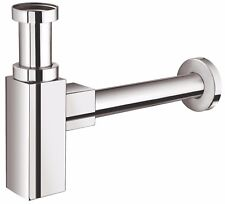 """MINIMALIST SQUARE CHROME BRASS ROUND BOTTLE TRAP WASTE BATHROOM BASIN SINK 11/4"""""""