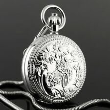 Full Hunter Hand-winding Chain Luxury Mens Pocket Watch Mechanical Silver Case