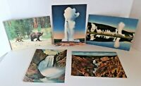 "5 Giant Postcards - Yellowstone - C.T. Art Colortone - Vintage Linen 6-7/8"" x 9"""