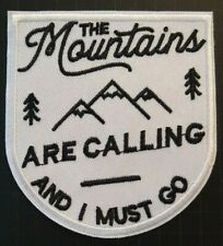 """The Mountains are Calling~John Muir~Hiking~Travel~Patch~3 1/2"""" x 3 1/8""""~Iron Sew"""