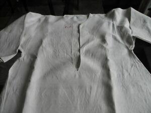 Antikes Nachthemd ungebleichtes grobes handgewebtes Bauernleinen Mg.EK 100 J.