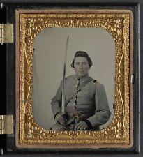 Photo Civil War Confederate Lieutenant Uniform CS Belt Buckle Cavalry Sword