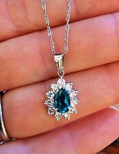 Emerald Pear and Diamond Drop Pendant Necklace TW 2.69 Platinum Setting - HM1188