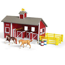 Red Stable Horse Toy Set Children Farm Barn Corral Kids Plastic Pretend Play New