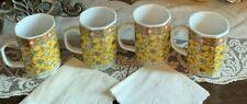 Mugs Yellow Handpainted Floral Set of 4 Coffee Tea