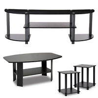 TV Stand Entertainment Center with Coffee Table Espresso & 2-Pack End Table Set