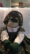 """Vintage Plush/Stuffed Frog Handmade in Hat & Dress 33"""" One of a Kind"""