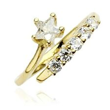 10K Solid Yellow GOLD Toering Adjustable Toe Rings Body Jewelry *STAR Solitaire